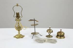 PARTI med bl.a. bordslampa, ringklockar, 2 st, samt fiskbestick, nysilver