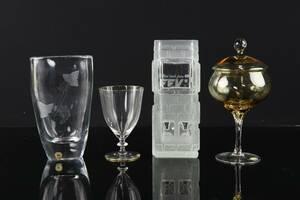 VASER, 2st, bl.a. Reijmyre, lockask på fot, Bohemia glas, samt vinglas, 12 st