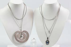 TAPIO WIRKKALA, halskedja med hänge, Omena samt hälskedjor med hängen, 2 st samt RING, silver