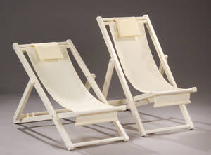 Sun-lounger. Vanillafarvet solstol af træ og canvas 2