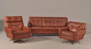 Sofa og 2 hvilestole med brunt læderbetræk, 1960erne 3