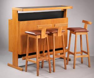 Vantinge Møbelfabrik. Bar samt tre barstole. 4