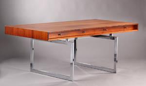 Bodil Kjær. Fritstående skrivebord  arbejdsbord af palisander