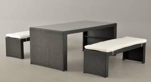 Havemøbelsæt Rektangulært bord samt to bænke, sort polyrattan 1