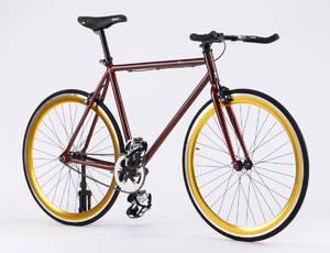 Enghouse sportscykel, Maroon med guldfarvede fælge og bullbar styr